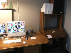 My desk and the eMac's desk