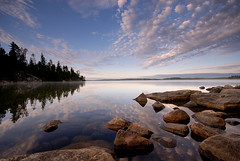 Sky speaks to Water (Peter Bowers) Tags: morning sky lake ontario canada reflection nature water landscape photo bravo rocks natural outdoor naturalbeauty temagami peterbowers outdoorphotography peterbowersphotography singhray youvegottheeye