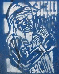 smell the bacon (Luna Park) Tags: blue streetart man berlin germany bacon stencil pirate lunapark hobo eyepatch smellthebacon
