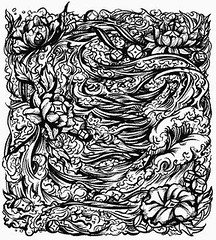 Waves (shaire productions) Tags: ocean flowers sea white black color detail art water tattoo modern illustration digital pen ink asian japanese design sketch artwork graphics waves graphic lotus designer drawing traditional chinese illustrations style sketchbook line thai illustrator draw drawn sketches productions sherrie prod detailed asianart linework sherriethai shaire shaireproductions