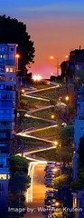 Lombard Street, Crookedest Street in the World, San Francisco (Wernher Krutein) Tags: sanfrancisco california city travel panorama usa history architecture dawn twilight dusk landmark structure historic american northbeach archives touristattraction scenics steep lombardstreet usaunitedstatesofamerica crookedeststreetintheworld