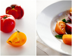 Heirloom Tomatoes | a Farewell to Summer (Gourmande in the Kitchen) Tags: summer vegetables tomato salad diptych heirloomtomatoes foodphotography yellowtomatoes redtomatoes heirloomtomatosalad simplesupper afarewelltosummer freshanduncooked