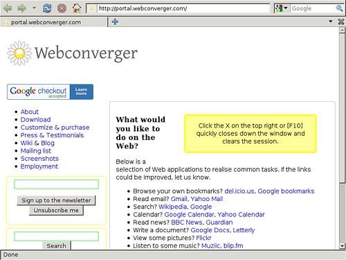 Webconverger portal