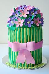 Caitlin's Flower Birthday cake (CharmChang) Tags: birthday pink flower cake purple bow bouquet fondant