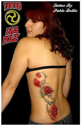 Angel's burning blue rose tattoo Tattoos - Lower Back Tattoos - Lower back