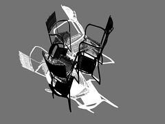 Chair Dance 1 (sunny-drunk) Tags: blackandwhite bw experimental chairs rhizome artcafe chairdance aplusphoto flickrjobdiff flickrjobprem creattività creattiva artate