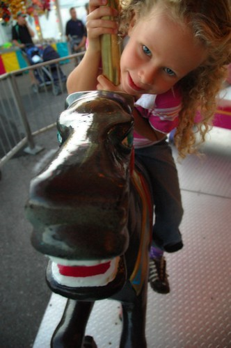 Sarah on the merry-go-round