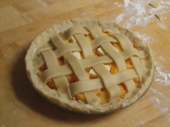 Peach pie before baking