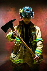 Paolo - Firefighter's Gear (bparas) Tags: portrait studio uniform dramatic fireman axe firemen firefighter studiolights dramaticportrait featuredimage