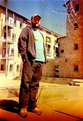 Me, standing in a photographic failure (ale2000) Tags: bear people me hat standing self court florence xpro crossprocess cosina failure ale ale2000 firenze agfa springtime cx2 commonpeople carceri ctprecisa over40 madonnadellenevi