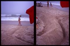 who's in the bunker? (beetabonk) Tags: beach diptych slide longisland halfframe robertmoses fujivelvia100 olympuspenees