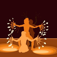 Burning Man - Fire Dancer Illustration (dwinning) Tags: art silhouette illustration canon fire rebel xt dancing dancer retro burningman burning flame performanceart wacom vector firedancer earthtone burningman2007 dwinning danielwinningham
