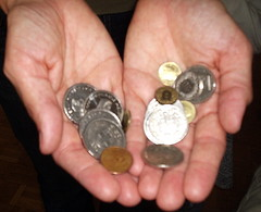 Not just a hand full of change...we are talking about 32 Swiss francs and some change!  :)
