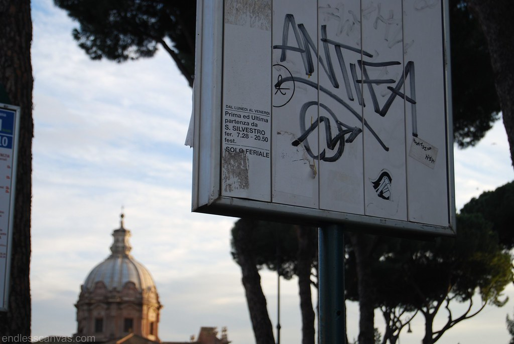 AntiFa Squater Graffiti in Rome Italy.