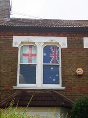Come on England & Australia (tezzer57) Tags: london window football flag australia stgeorge balham londonist comeonengland worldcup2010 finepixf40fd wc2010