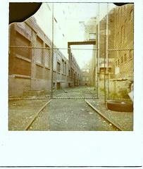 1000 W. Haines St. (A) (GXM.) Tags: chicago chicagoist gbrearview gapersblock wbez polaroid vintage newpolaroid chicagophotography urbanphotography urbanpolaroids urban street raw industrial morning pov perspective tall windows yellow traintracks railbed abandonedtraintracks abandonedfactory abandoned forgotten fence factory