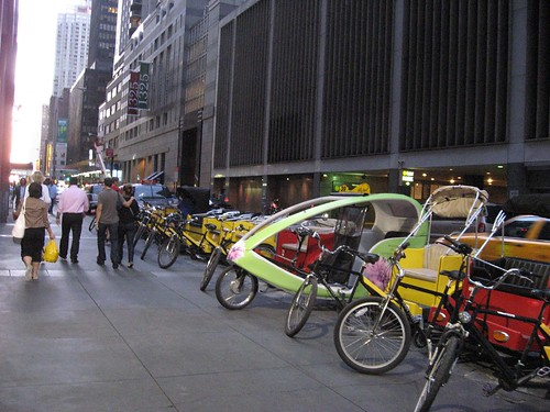 Cyclerickshaws for hire in Manhattan