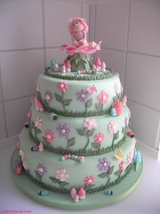 Garden christening cake (cakejournal) Tags: pink flowers baby green cake garden shower butterflies insects bugs lilac caterpillars caketopper snails ladybirds babyshower toadstools abigfave christningcake