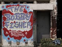 Borf Building & A Blue Blanket On A Green Paisley Couch, North Capitol Street (Washington, DC) (takomabibelot) Tags: geotagged graffiti washingtondc dc couch borf paisley nolongerthere 644 johntsombikos northcapitolstreet consolationofruin bobbyfishermemorialbuilding geo:lat=38912199 geo:lon=77009311