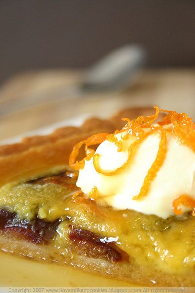Orange & Date Tart with Cardamom Orange Syrup