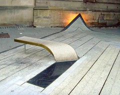 Public bench in Newcastle (Tony Worrall Foto) Tags: city uk england sculpture art bench newcastle outside artwork artist seat publicart northeast bluecarpet thomasheatherwick laingartgallery nv3