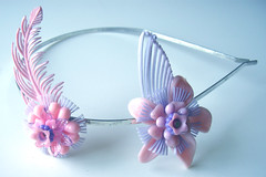 Purple and Pink Vintage Flowers Headband