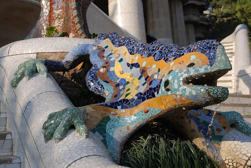 Mosaic dragon fountain - Park Güell, Barcelona - Spain by Vito DM.