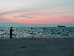 (andreas n) Tags: sunset sea sky fish man fisherman ship colours wave greece grecia thessaloniki griechenland grce salonica thermaikos theunforgettablepictures