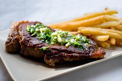 Authentic Steak Frites with Herb butter (Jim U) Tags: food home marble softbox reflector boomarm nikonsb80dx minolta50mm28macrors westcottapollo28 sony900