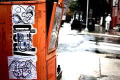 Honor Box Trifecta of Vinyl Vandals Vanquishing!! ! (damonabnormal) Tags: street city urban streetart philadelphia canon graffiti october sticker stickerart 33 label stickers urbanart pa labels baddog philly slap thursday phl 2010 rog slaps uwp goest underwaterpirates philadelphiastreetart 40d philadelphiagraffiti stickerartists philadelphiaartist liptalk