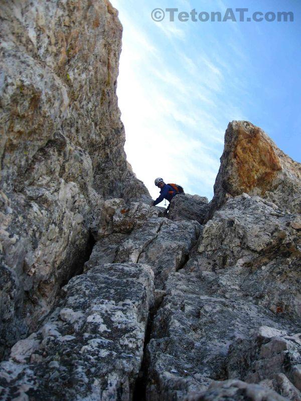 Julia climbs the Owen Chimney