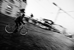 Panning test... (janbat) Tags: street bw test man bicycle nikon belgique bruxelles nb tokina d200 rue panning tramway f4 hombre grue vlo homme 1224 bruit pav jbaudebert upcoming:event=1502250