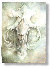 Venice doorknocker IX (caudetano) Tags: venice watercolor paper papel acuarela venecia venezia doorknocker aldaba artesano llamador meirat