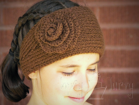Knitted Head Wrap Pattern Free : Knit Ear Warmer Pattern with Flower Crochet Ashlee Marie