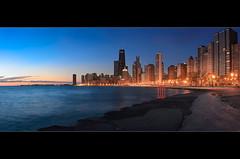 City Silence (Sebastian (sibbiblue)) Tags: morning panorama chicago hancockbuilding water skyline skyscraper sunrise lakemichigan navypier bluehour johnhancock lakefront hancockcenter stiching nikond40