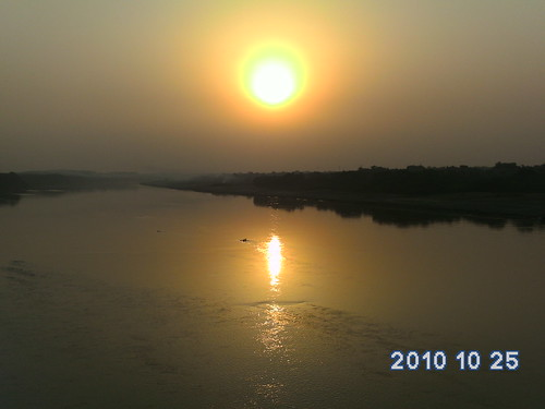 Sunset in Chakarnagar, Etawah, U.P., India on Riverbank of Yamuna