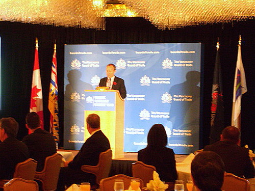 Canadian federal trade minister Stockwell Day gave a keynote address at the Vancouver Board of Trade on October 29, 2010 in the Pacific Gateway Forum 2010: Greater Heights, Expanding Horizons