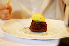 Moelleux of Bittersweet Chocolate with Passion fruit