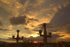 Twin cross hdr (ahlston) Tags: flowers sunset usa cemetery night clouds landscape al cross sundown dusk az hdr photoshopcs2 gravesite safford sonyalpha  aplusphoto saffordaz minoltaaf20 ahlston