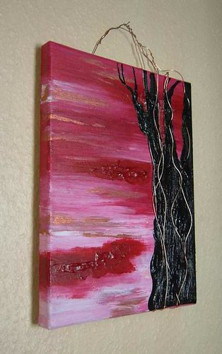 Red Sky at Night - a mixed media painting on canvas