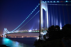 Verrazano-Narrows Bridge (Mazda6 (Tor)) Tags: new york longexposure bridge blue reflections lights dusk verrazano verrazanonarrows