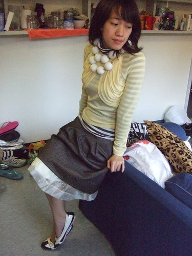 Sheer yellow top, bought in JPN; Striped turtleneck, borrowed; Brown skirt, Ann Taylor; Skirt (worn as petticoat), DIY; Ping-pong ball necklace, DIY