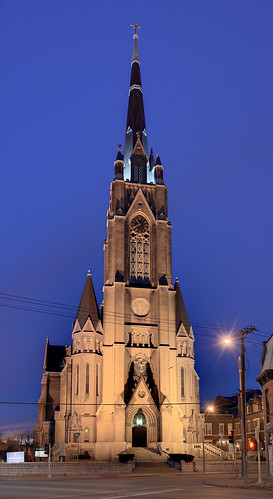 Saint Francis de Sales Oratory, in Saint Louis, Missouri, USA - tower illuminated at dusk