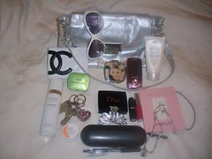 My Small Silver Shoulder Bag (All Things Bright 'n Beautiful) Tags: sunglasses bag notebook keys perfume purse pens chanel compact mints glasscase hairgrip handcream samsungmobile neckchain cuticlecream maclipstick cliniquelipgloss diorcompact