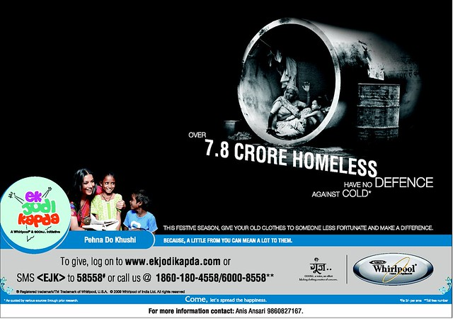 "Whirpool ""ek- jodi kapda"" www.ekjodikapda.com This festive season give your old cloths to someone less fortunate"