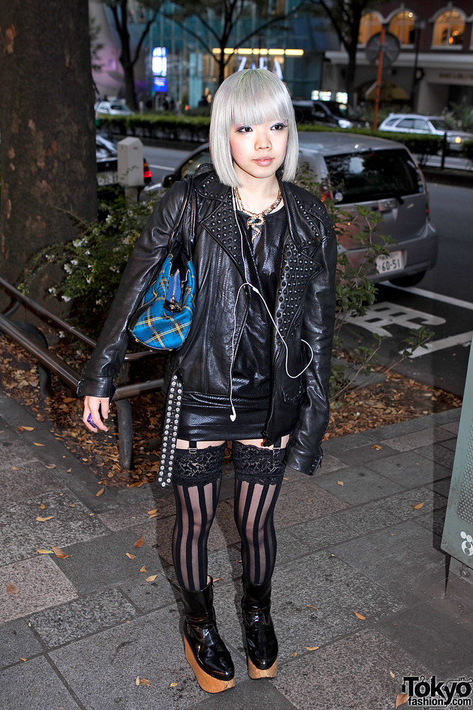 Leather Dress & Garter Stockings