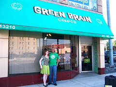 Mikhaela Reid & Masheka Wood outside Green Brain Comics after our signing there