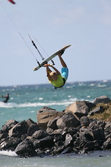 Susi doin a Raley at Kite Beach