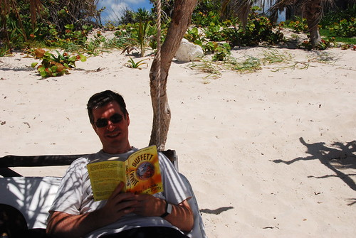 Me reading my Jimmy Buffett book