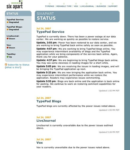 sixapart status